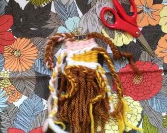 autumn - hand woven textile art weaving wallhanging in rose quartz pink, sunshine yellow, cinnamon brown, and cream