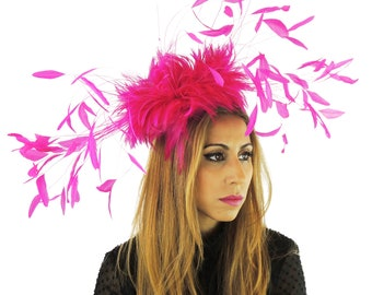Eagle - Magenta Cerise Pink Fascinator Kentucky Derby or Wedding Hat With Headband