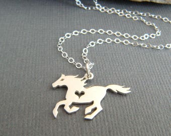 sterling silver galloping horse with heart necklace small equestrian pendant love charm gift animal lover tiny simple equine jewelry 5/8""