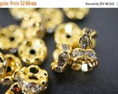 SWEET SALE 18K Gold Plated Clear Diamond Color Rhinestone Rondelle Spacers - Round Curved - 6mm - 20 pcs