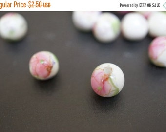 WINTER SALE Japanese White Round Porcelain Beads with Classic Pale Baby Pink Peony Flowers Beads  - 8mm - 6 pcs