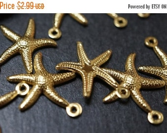 MARCH SALE CLOSEOUT Sale - High Quality Solid Raw Brass Starfish Charm Pendants - 22mm - 10 pcs