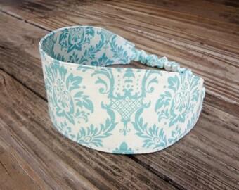 Wide Fabric Headband with Elastic: Aqua Damask Print