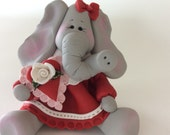Polymer Clay Valentine's Elephant by Helen's Clay Art