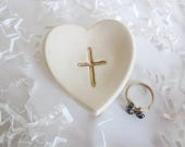 Heart Communion keepsake, First Communion Favors, first communion gift, gold cross mini dish, 2.5""