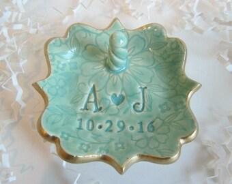 Ring holder, ring dish, wedding ring dish, gift for bride, bridal shower gift, monogrammed ring dish