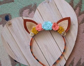SALE | Deer Ear Headband | Felt Flowers | Photo prop, costume, birthday, accessories
