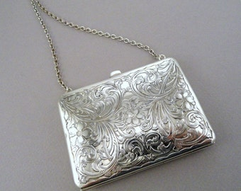 A Vintage Sterling Silver Lady's Evening Purse, Hand-Engraved with Scrolls and Flowers, Circa 1910.  (A1809)