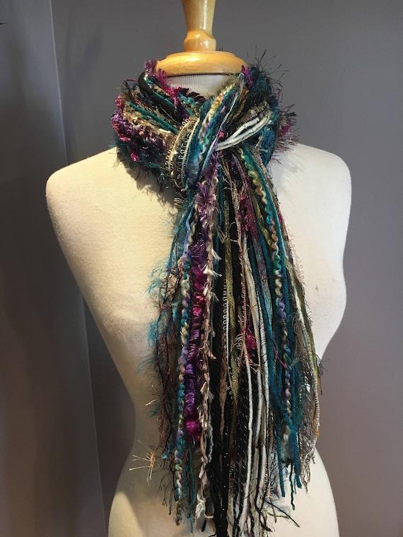 Fringie in Fresco, Aqua purple black scarf, handmade fringe scarf with knots, chunky yarn scarf, Funky Scarf, faux fur fashion