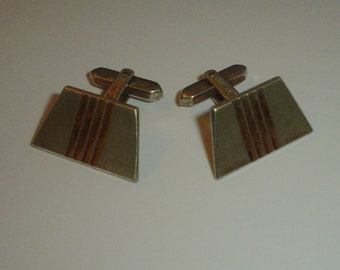 Silver cufflinks not sterling vintage 835 continental geometric deco style