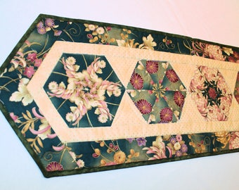 Floral Quilted Table Runner in Green Rose Pink and Gold, Spider Mum Asian Style Stack and Whack Table Runner Quilt, Quiltsy Handmade