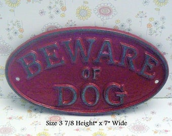 Beware of Dog Shabby Chic Small Cast Iron Sign Red Gate Fence Home Decor