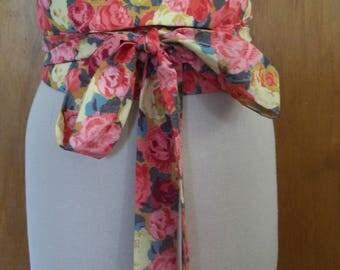 Sash Belt ~ Obi Belt ~ Floral Sash ~ Rose Sash ~ Wrap & Tie Belt ~ Liberty of London Fabric ~ Rose Floral Obi Belt