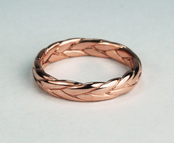 10k Rose Gold Wide Braid Ring with Low Profile-solid cast