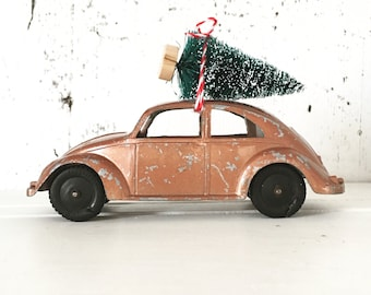 Vintage Bronze Volkswagen Beetle Toy with Bottle Brush Tree, Christmas Tree, VW