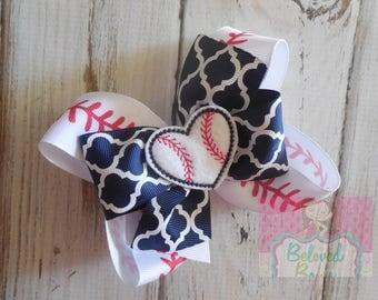 Baseball Spikey Hair Bow, Baseball Sister, Take Me Out To The Ballgame Hair Bow, Layered Baseball Bow
