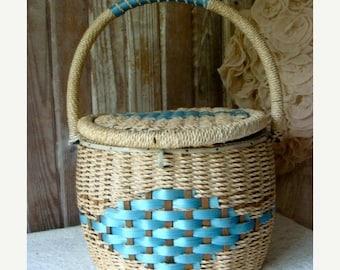 ONSALE Beautiful Blue Vintage Large Sewing Basket