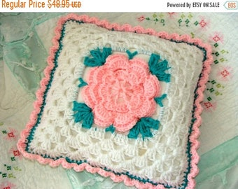 ON SALE Vintage Kitsch1950s Pink Rose Handmade Crochet Shabby Chic Romantic and Very Feminine Throw Pillow