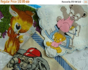 ON SALE Vintage Kitsch Little Girl Children's Hankies Adorable Bundle N016