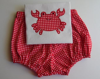 Custom Boutique Appliqued Crab and Diaper cover set size NB-12m
