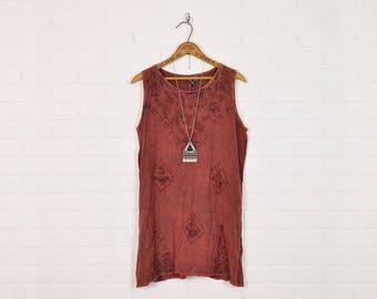 Vintage 90s 70s India Dress India Embroidered Dress Boho Dress Hippie Dress Grunge Dress Festival Dress Ethnic Dress Mini Dress Red S M L
