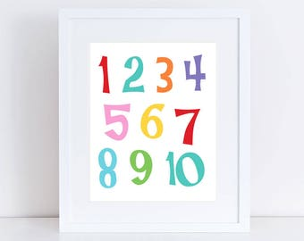 number art for kids - one to ten playroom decor or nursery art, numbers print, kids room decor, nursery wall art, counting, nursery numbers