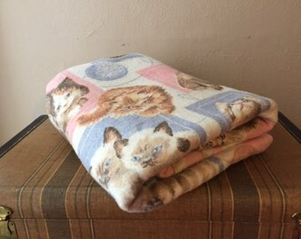 Kitten Blanket Vintage Bedding White Pink Blue Cats Made in USA