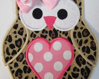 Heart Owl Iron On or Sew On Applique or Patch