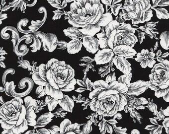 Black White Rose Scroll Fabric - Timeless Treasures - C3790