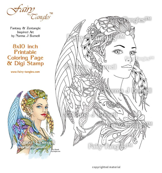 Dragon Queen Fairy and Dragons Printable Coloring book Sheets