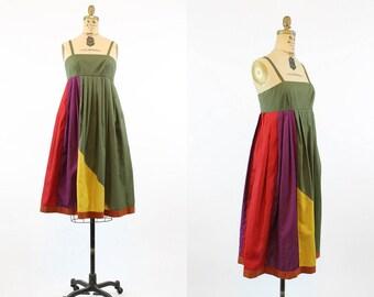 70s Dress Tent Trapeze Small / 1970s Colorblock Sun Dress /  Olive  Dress