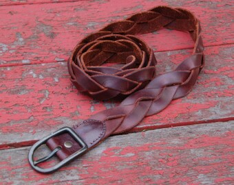Vintage Brown LEATHER BRAIDED Belt Boho Belt HIPPIE Belt Festival Belt