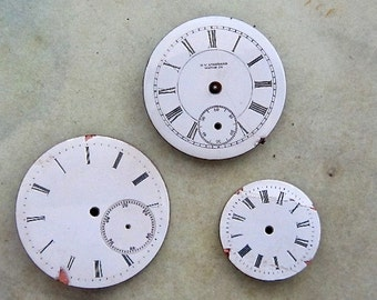 Vintage Antique porcelain pocket Watch Faces - Steampunk - Scrapbooking D55