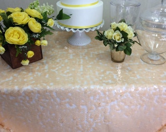 Peach Square Sequin Tablecloth Wedding Table Overlay