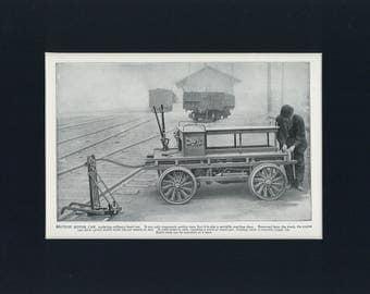 Historical 1911 Antique Print Railroad Section Motor Car