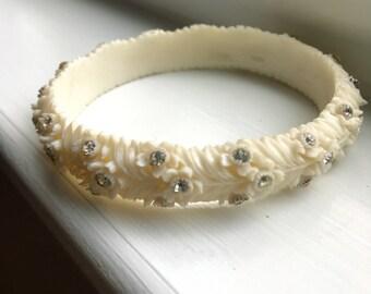 Vintage Off White Carved Celluloid and Rhinestone Bangle Bracelet