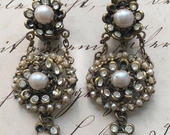 Vintage Pearls and Rhinestones Chandelier Earrings