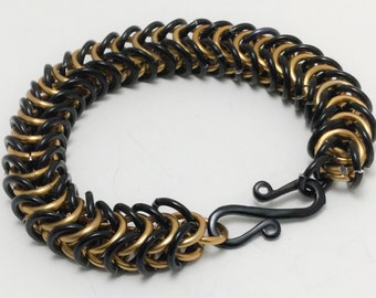 Unisex Black and Bronze Chainmaille Box Weave Bracelet