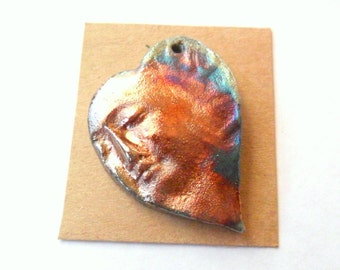 Raku Fired Clay Hearted Face Pendant Finding