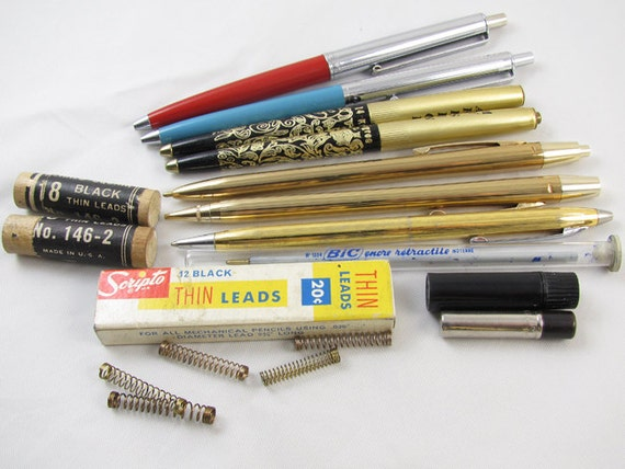 Vintage lot pen pencil ball point / Papermate / Arpege / My Sin / gold plated / Scripto lead / Herald Square / writing instruments / parts