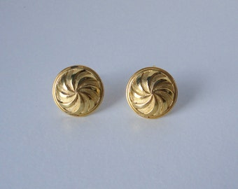 Gold Brushed and Polished Gold Tone Dome Pinwheel Shaped   KRAMER Earrings. 1960's Unsigned Kramer.