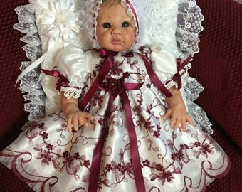 REBORN GOWN BABY  White Organza Burgandy embroidery and Beading size 17 to 19 inch or Newborn Victorian