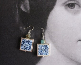 Portugal Royal Blue Azulejo Tiles Replica SILVER FRAMED Earrings - PORTO (see Facade photos) - waterproof and reversible - Gift Boxed 654