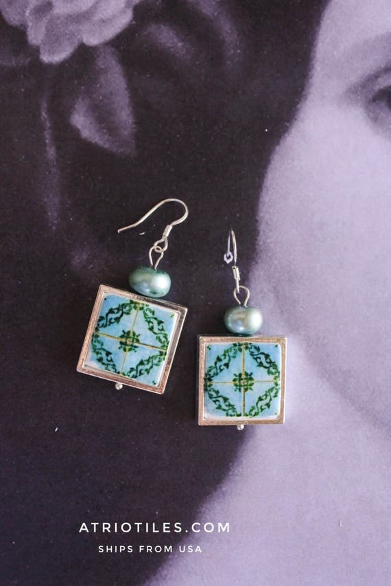 Silver Earrings Portugal Tile Azulejo Portuguese Antique FRAMED Águeda (see facade photo) Green Blue - Gift box Included Ships from USA 408