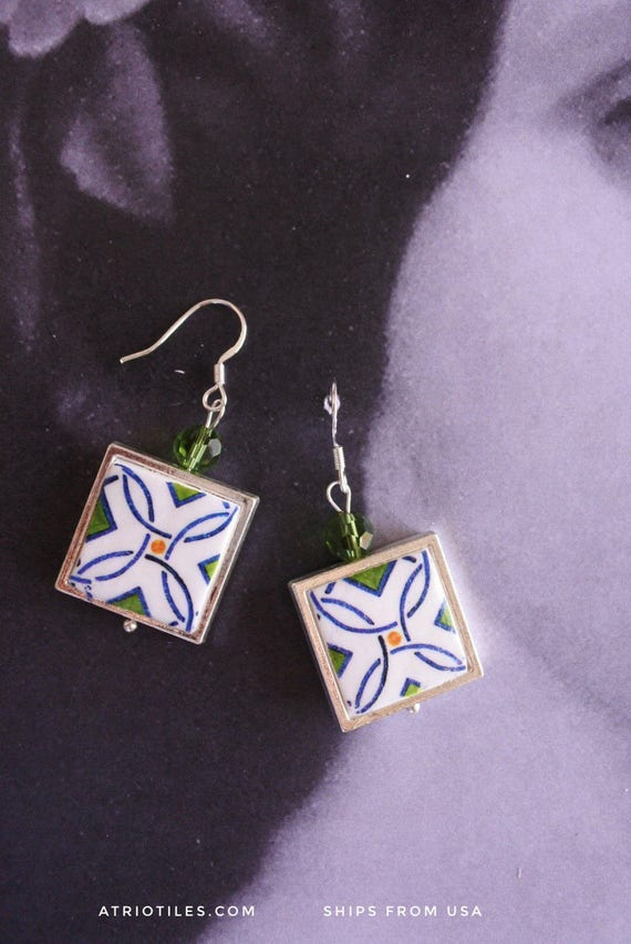 Silver Earrings Portugal Tile Azulejos Portuguee Green Antique FRAMED Caldas da Rainha - Persian Gift Boxed Ships from USA  885