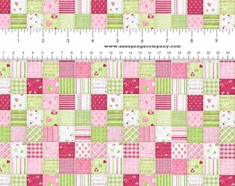 Dollhouse Miniature Small Scale Computer Printed Pink and Green Patchwork Quilt Roses Floral Fabric