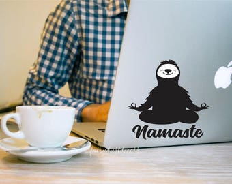 Namaste decal, sloth yoga, funny laptop decal, meditation, sloth lovers decal, sloth vinyl sticker, yoga decal, vinyl wall decal, namaste