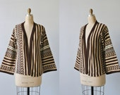 Vintage 1970s Boho Cozy Throw On Sweater / Open Front /  Brown and White Striped Zig Zag Ethnic Print