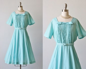 Vintage Aqua Cotton 1950s Dress / 50s Dress / Short Sleeves / Bow Tie / Size Medium