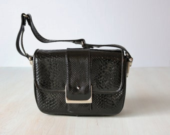 Vintage Black Embossed Leather Top Handle Shoulder Purse / 1960s Mod Purse / Dofan Made in France